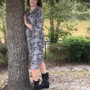 Talbots Black Snakeskin Dress